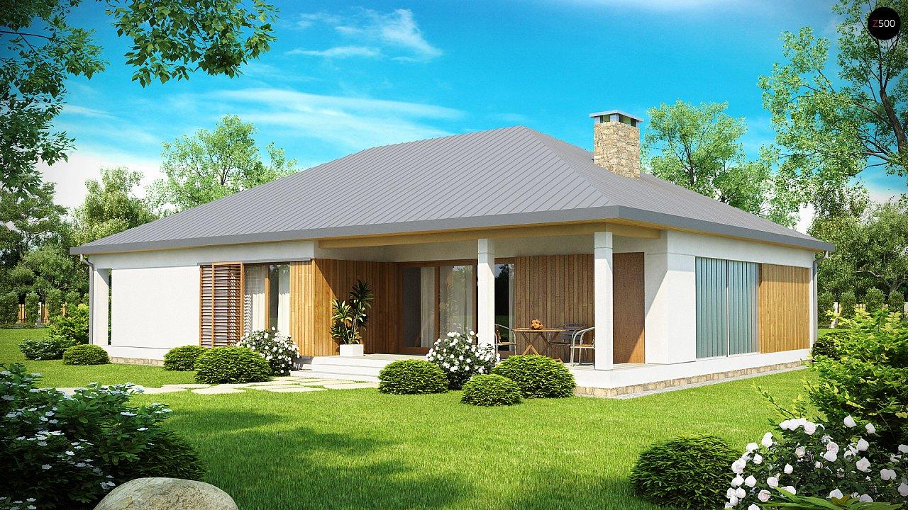 Проект практичного одноэтажного дома с фронтальным выступающим гаражом и крытой террасой. 2