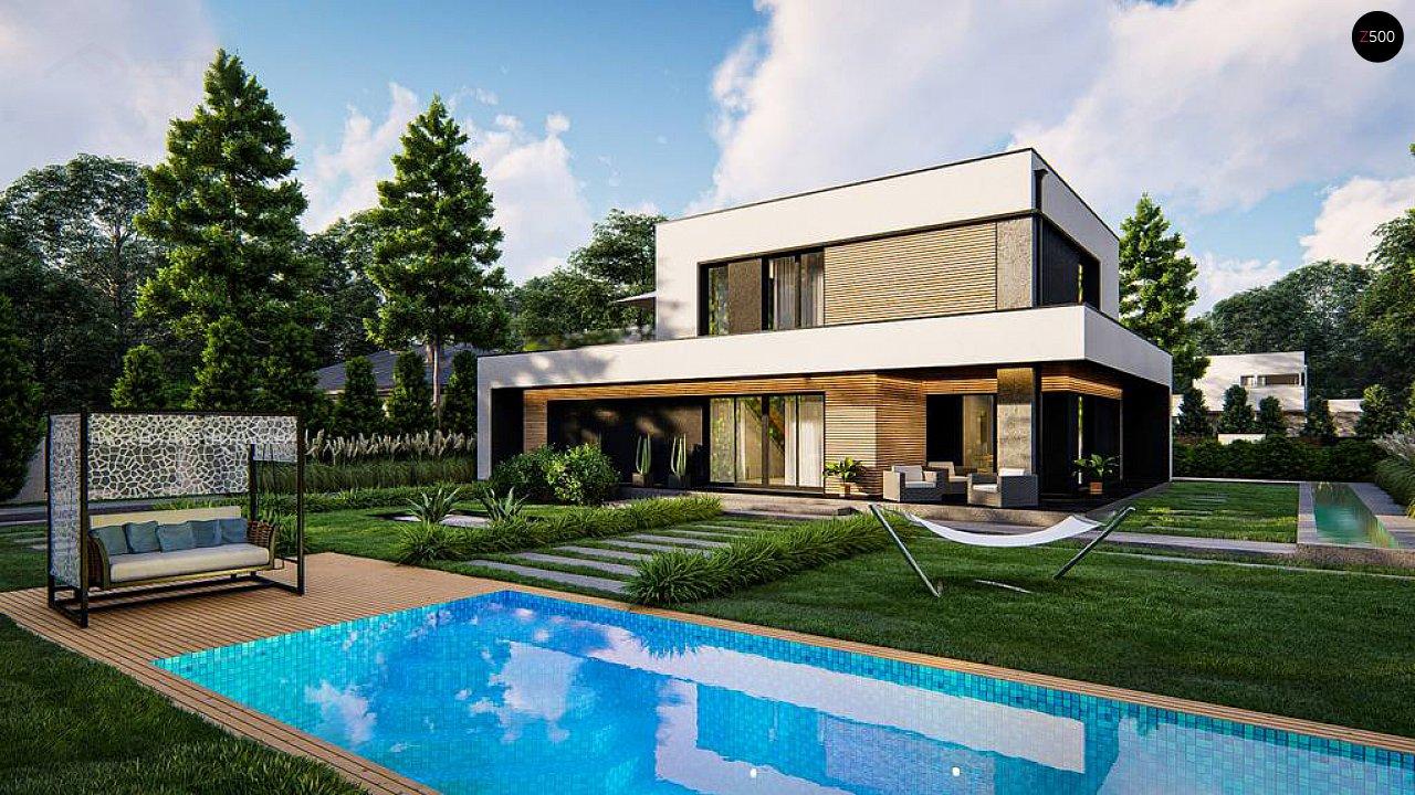 Cовременный двухэтажный дом с плоской крышей и гаражом на две машины. 5