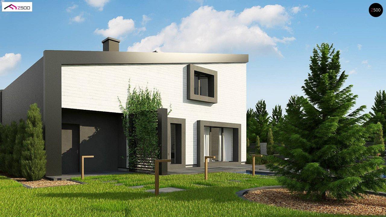Проект двухэтажного дома с открытой дневной зоной и современным экстерьером. 4