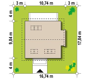 Проект простого в строительстве дома с двускатной кровлей. план помещений 1