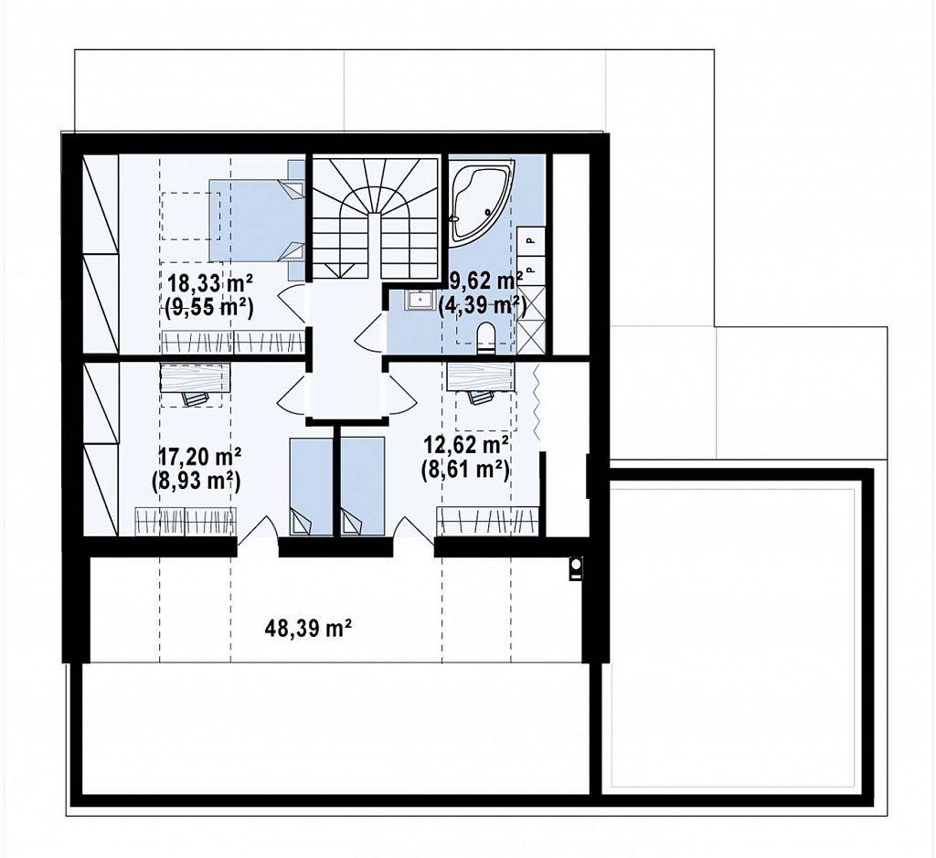 Современный мансардный проект дома с террасой и гаражом на две машины план помещений 2