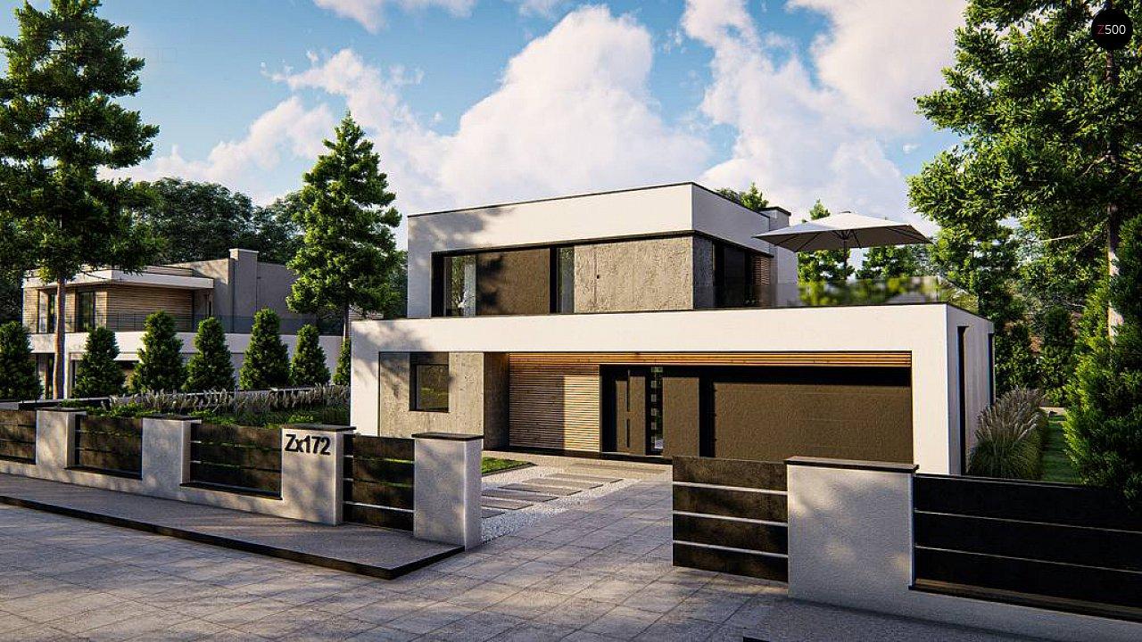 Cовременный двухэтажный дом с плоской крышей и гаражом на две машины. 4