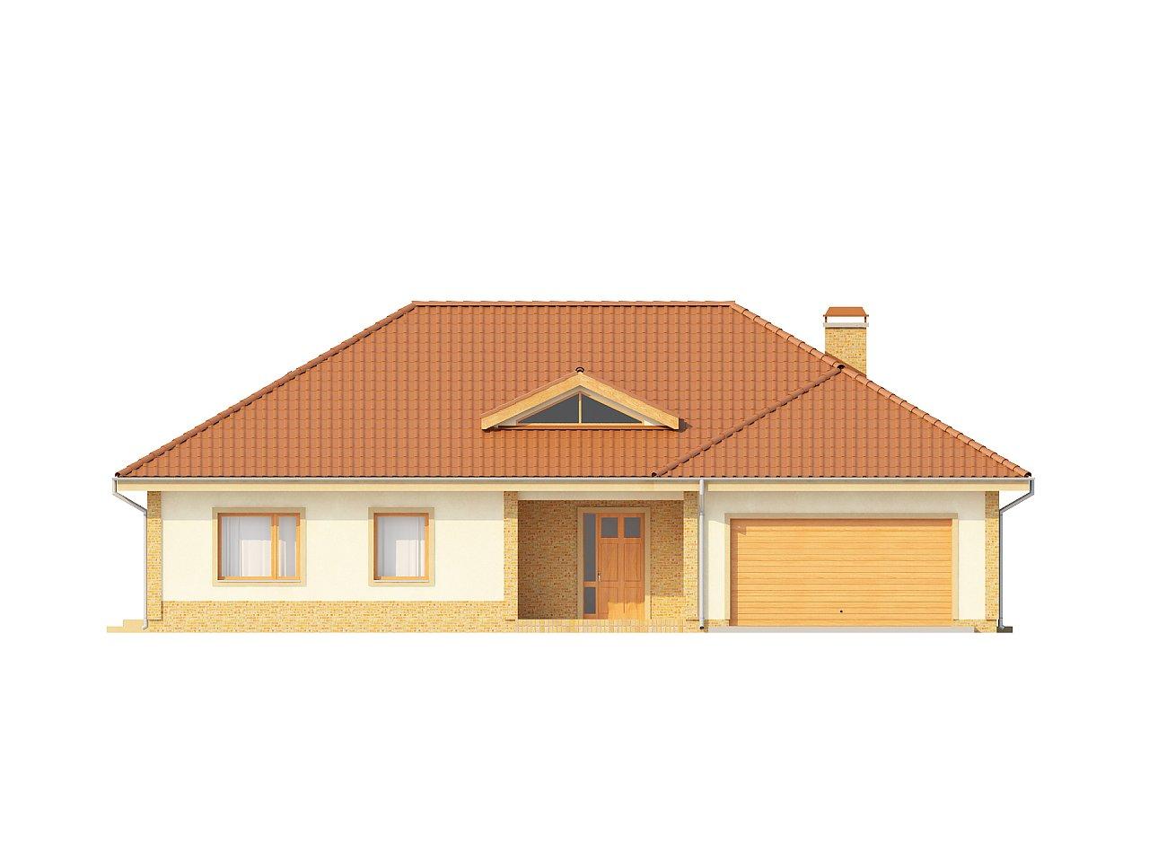 Проект просторного одноэтажного дома с возможностью обустройства мансарды. 3