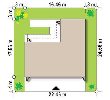 Современный одноэтажный дом с плоской крышей и гаражом на один автомобиль. план помещений 1