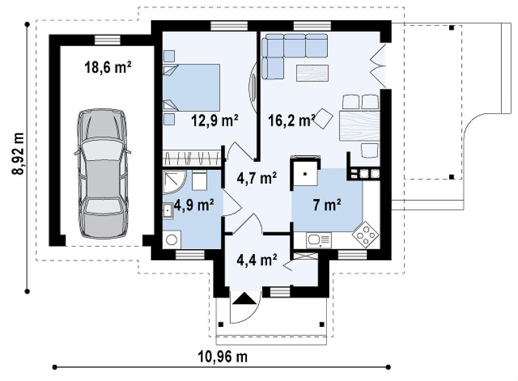 Зеркальная версия проекта Z73 с гаражом с левой стороны дома план помещений 1