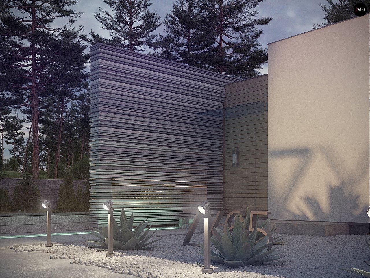 Одноэтажный дом в стиле хай-тек с плоской кровлей и большой площадью остекления. 6