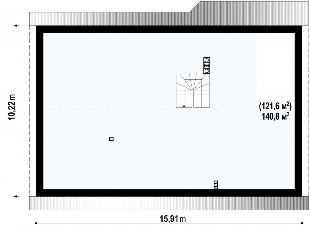 Проект выгодного одноэтажного дома с возможностью адаптации чердачного помещения. план помещений 2