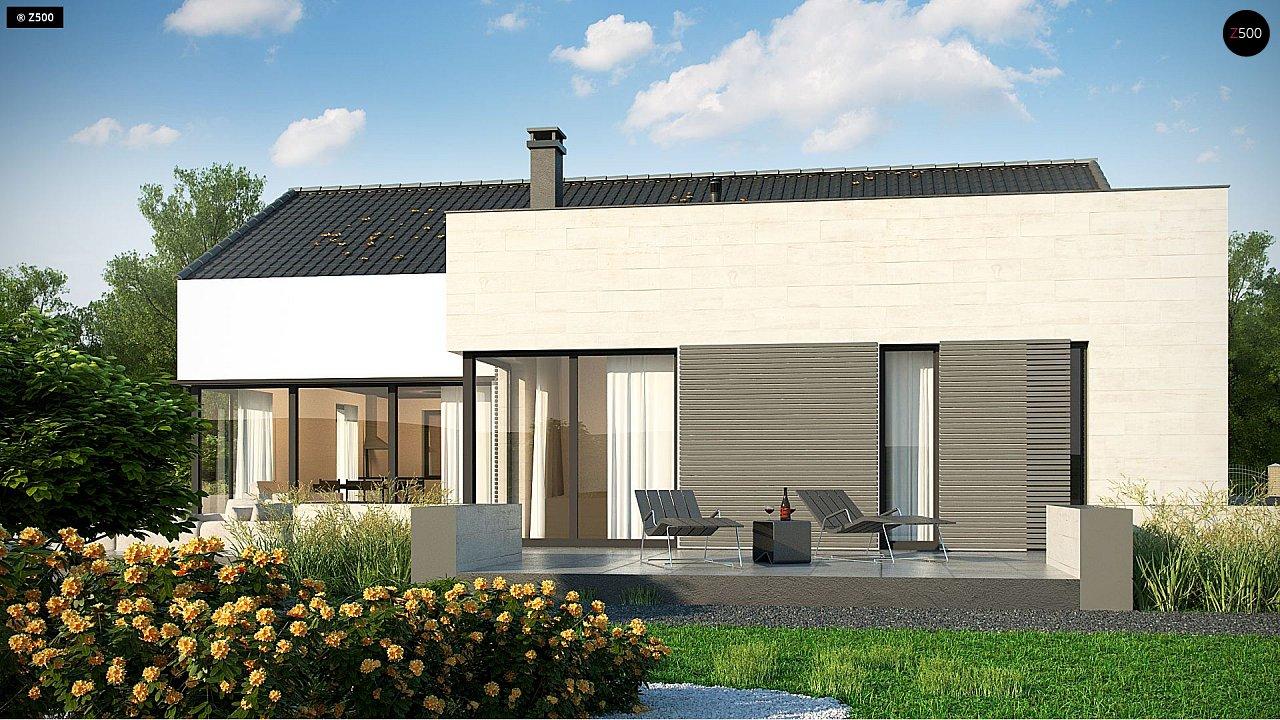 Проект одноэтажного дома Z390 с гаражом на 1 машину и красивым белым фасадом 3