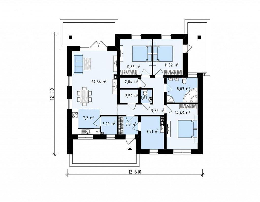 Вариант одноэтажного проекта Z230 c изменениями в планировке. план помещений 1