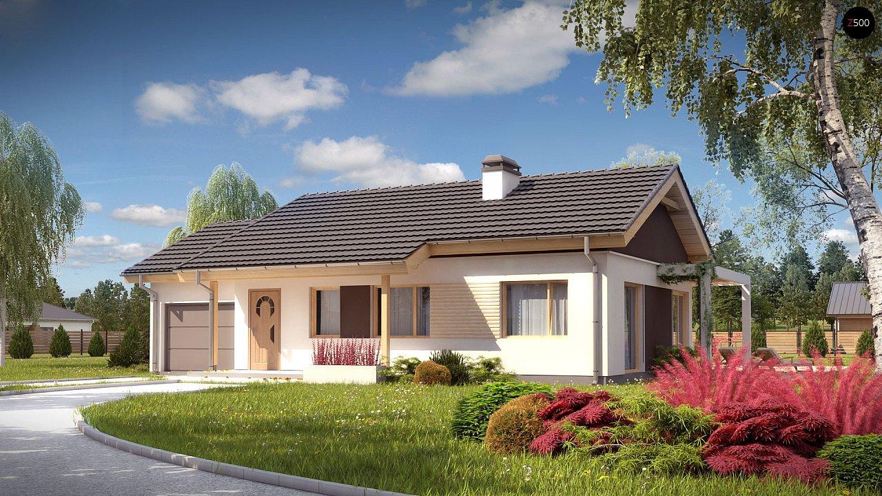 Небольшой одноэтажный дом с большой площадью остекления в гостиной. 4