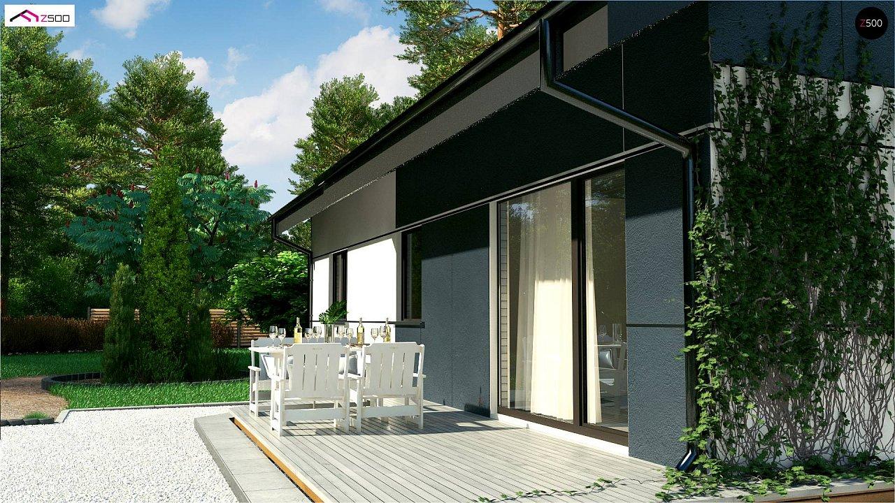 Проект одноэтажного дома традиционной формы с современным экстерьером. 3