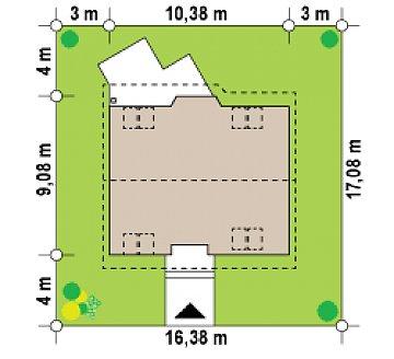 Выгодный и простой в строительстве дом с эркером в дневной зоне. план помещений 1