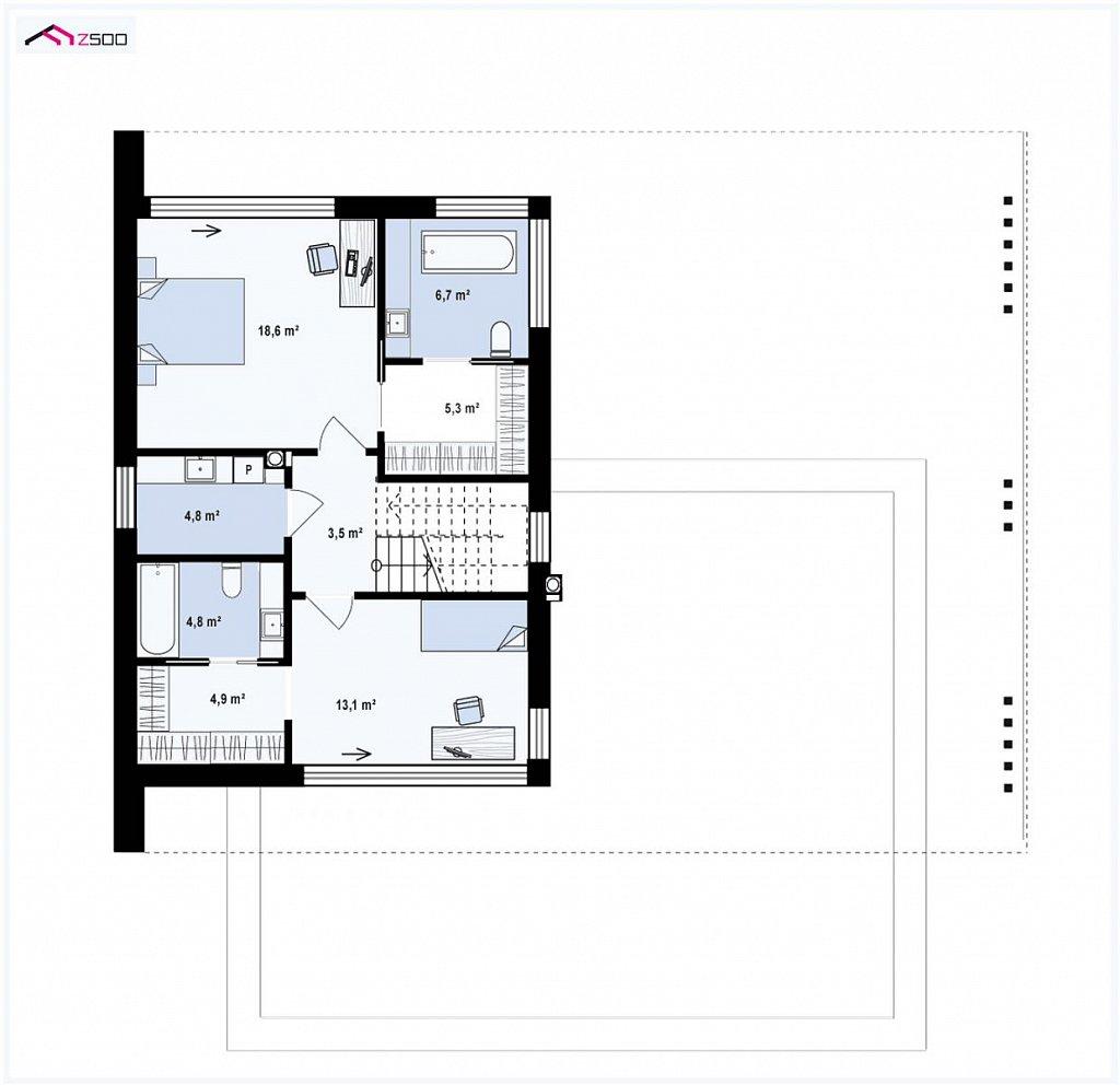 Современный двухэтажный дом с плоской кровлей и навесом для автомобиля план помещений 2