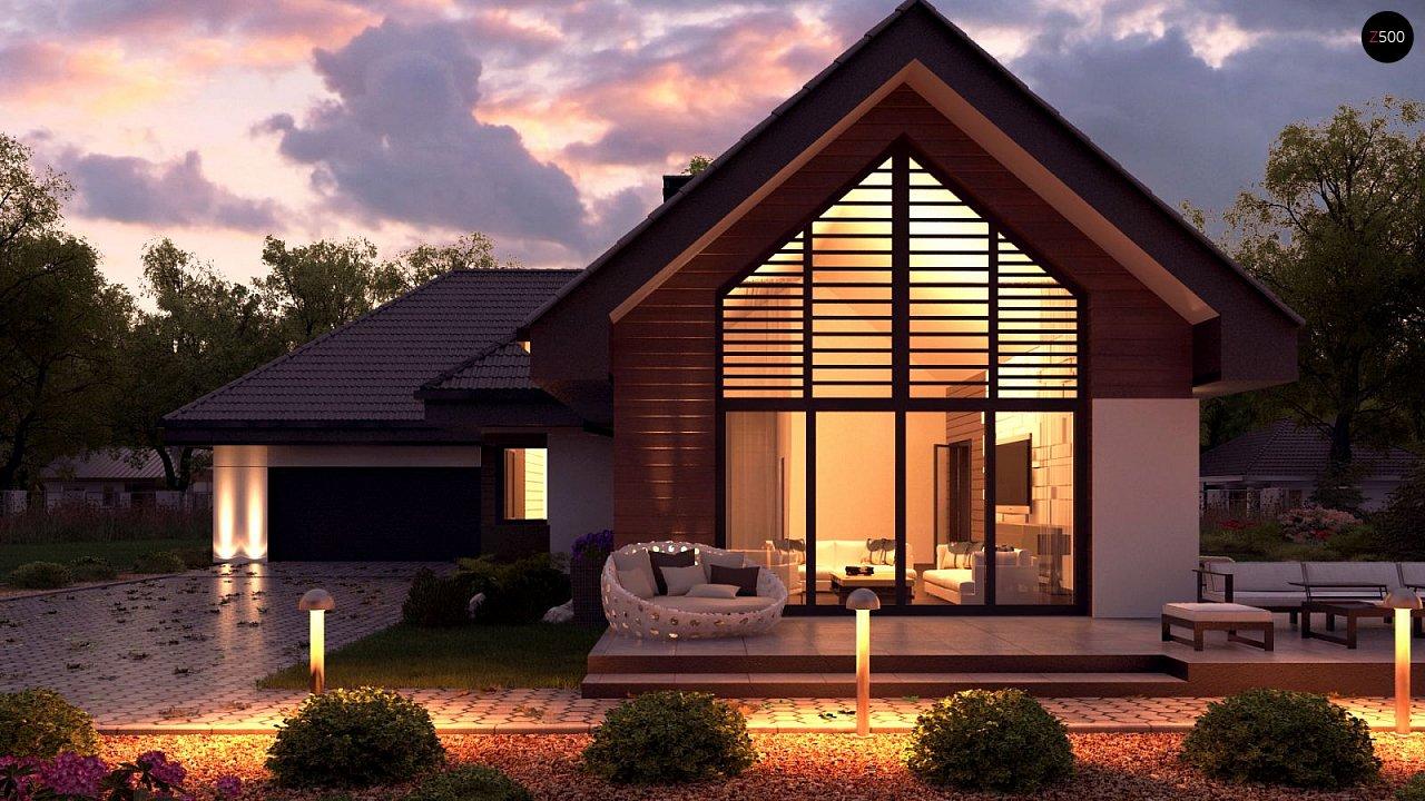 Одноэтажный дом в современном стиле, с многоскатной крышей и гаражом на два автомобиля. 1