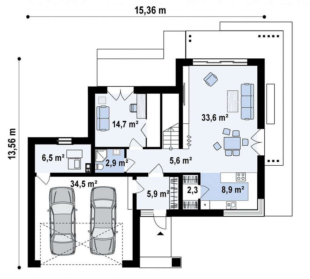 Вариант двухэтажного дома Z426 с многоскатной крышей план помещений 1