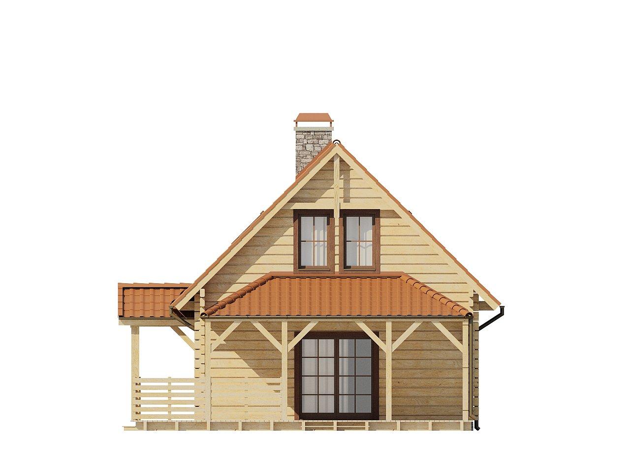 Проект небольшого дома с мансардой, с крытой боковой террасой. - фото 6