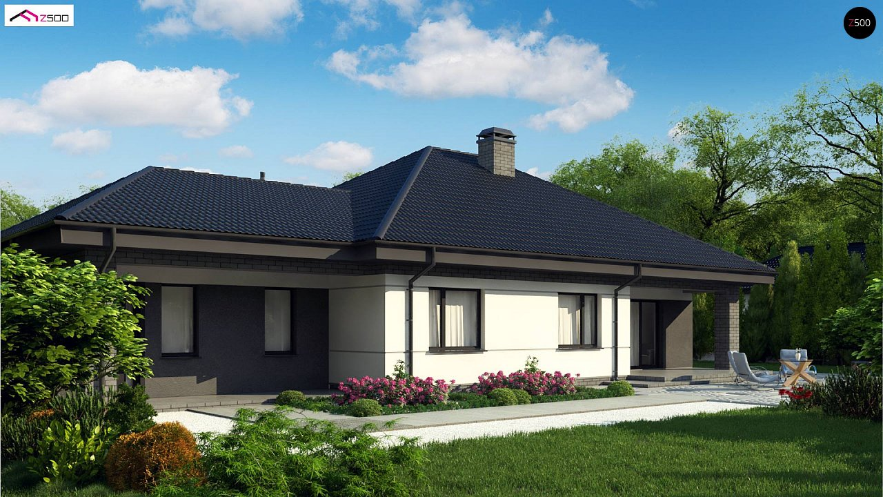 Проект одноэтажного дома с четырехскатной кровлей и гаражом на два автомобиля. 5