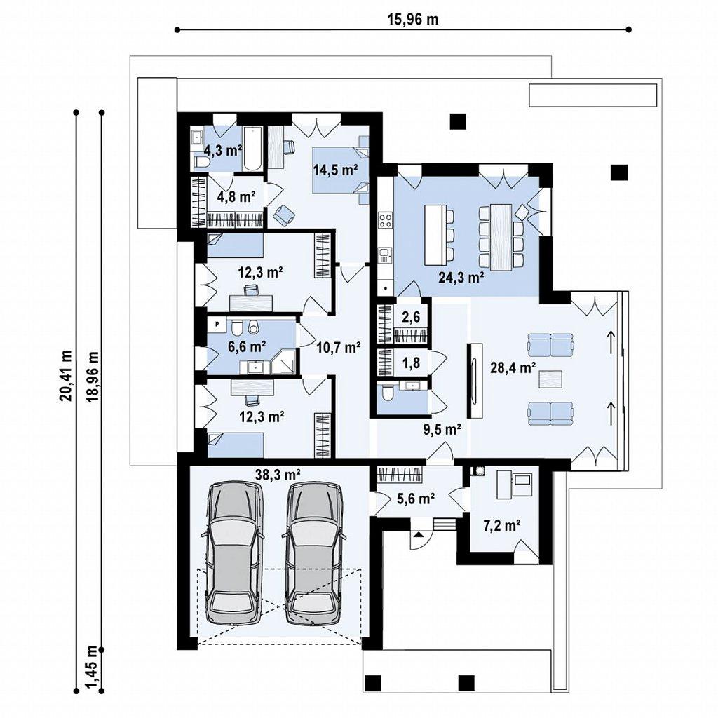 Cовременный одноэтажный дом с многоскатной крышей и гаражом на две машины. план помещений 1