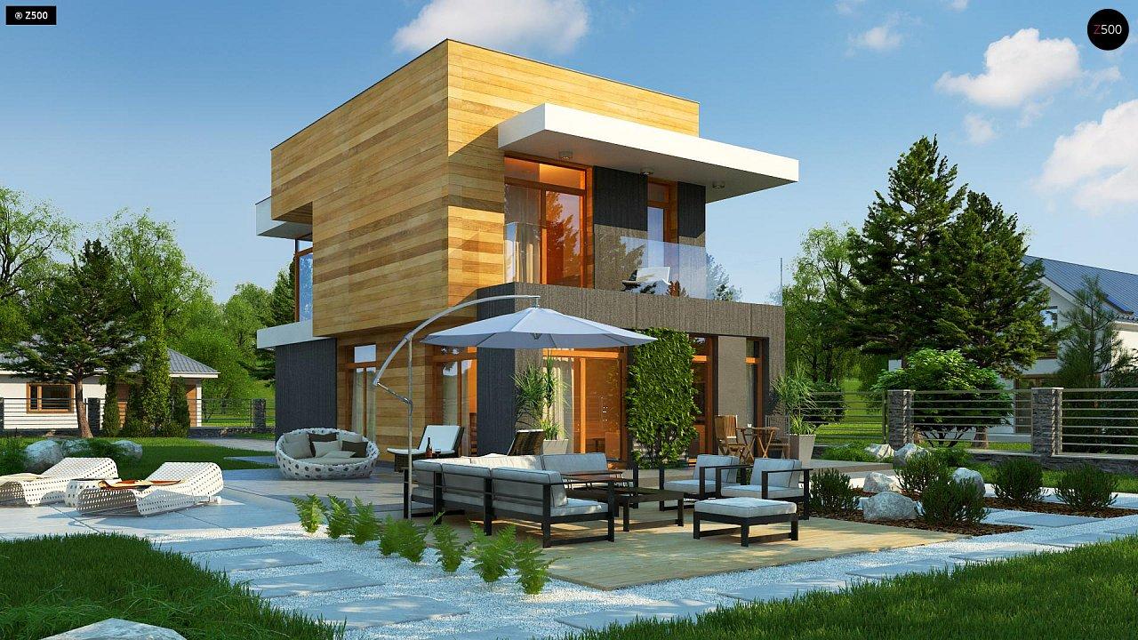 Проект двухэтажного дома в стиле кубизм, подходит для строительства на узком участке. - фото 3
