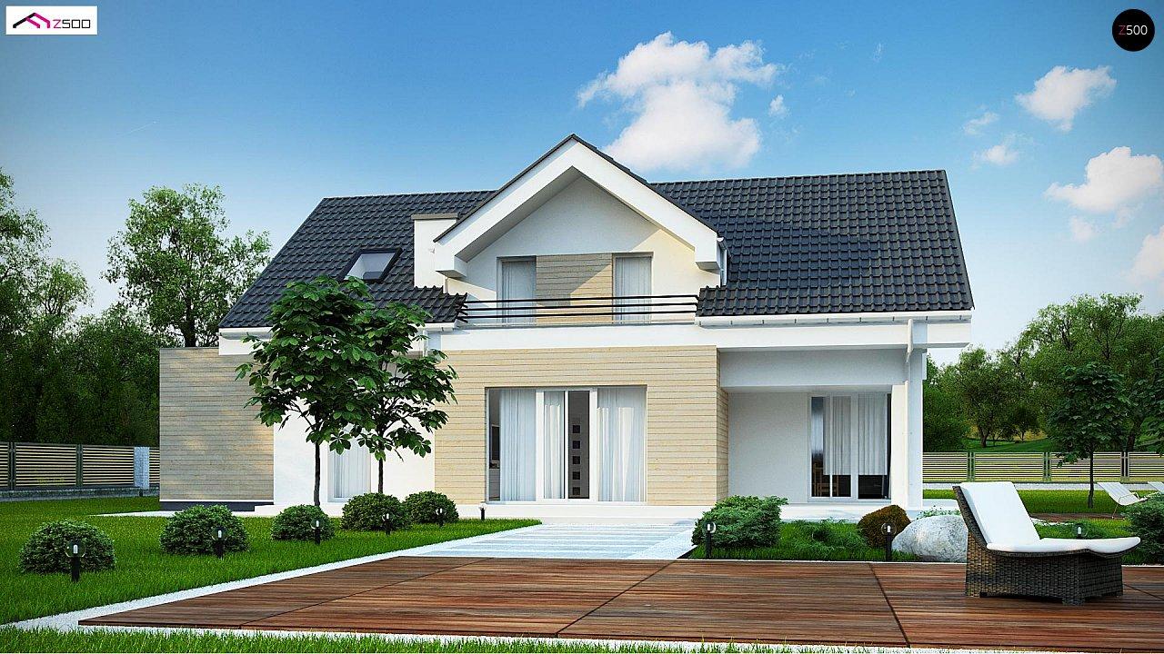 Проект мансардного дома в европейском стиле с балконом. - фото 2