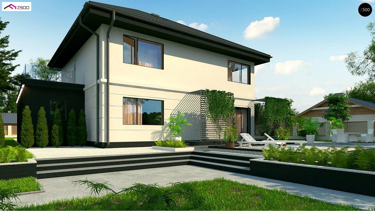 Просторный двухэтажный дом простой формы с террасой над гаражом. - фото 4