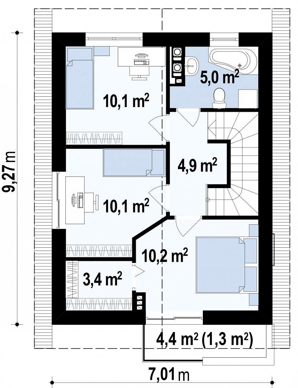 Небольшой двухэтажный дом с современными архитектурными элементами, подходящий для узкого участка. план помещений 2
