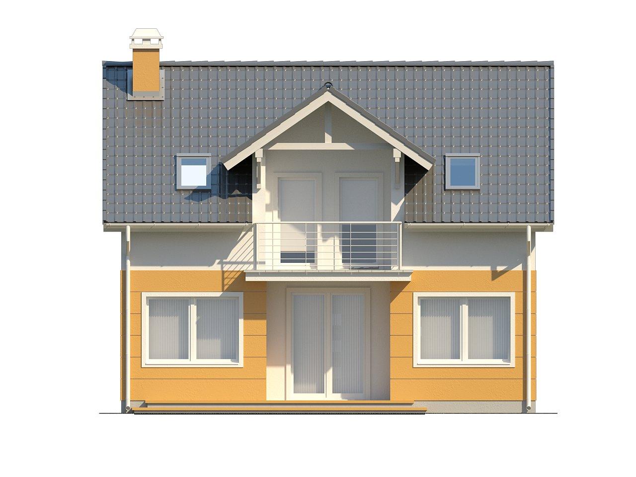 Стильный дом с мансардным окном и балконом, а также кухней со стороны сада. 4