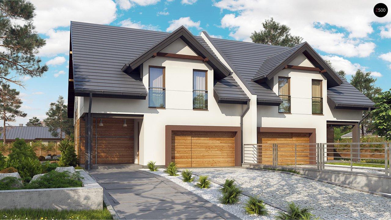 Дома близнецы элегантного дизайна со встроенным гаражом. 1