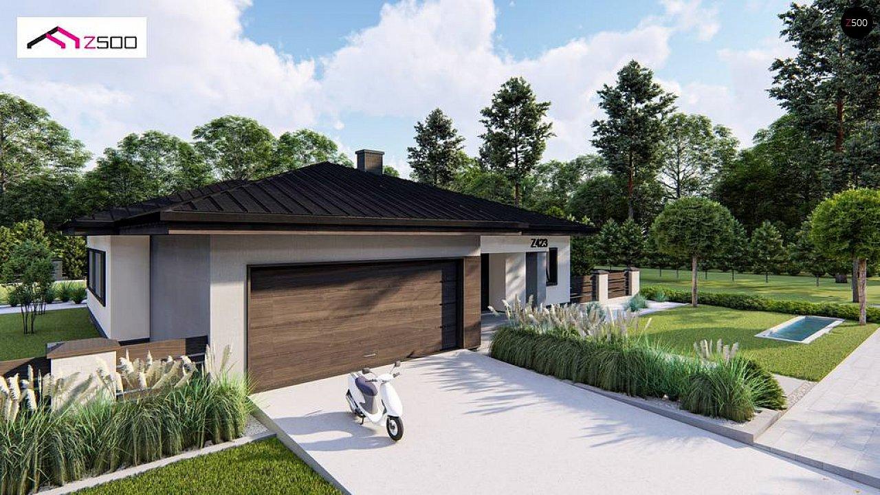 Современный одноэтажный дом с многоскатной крышей и гаражом на две машины. 5