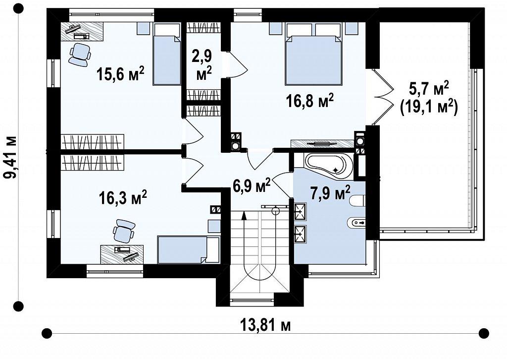 Двухэтажный дом в модернистского дизайна с гаражом и террасой на верхнем этаже. план помещений 2