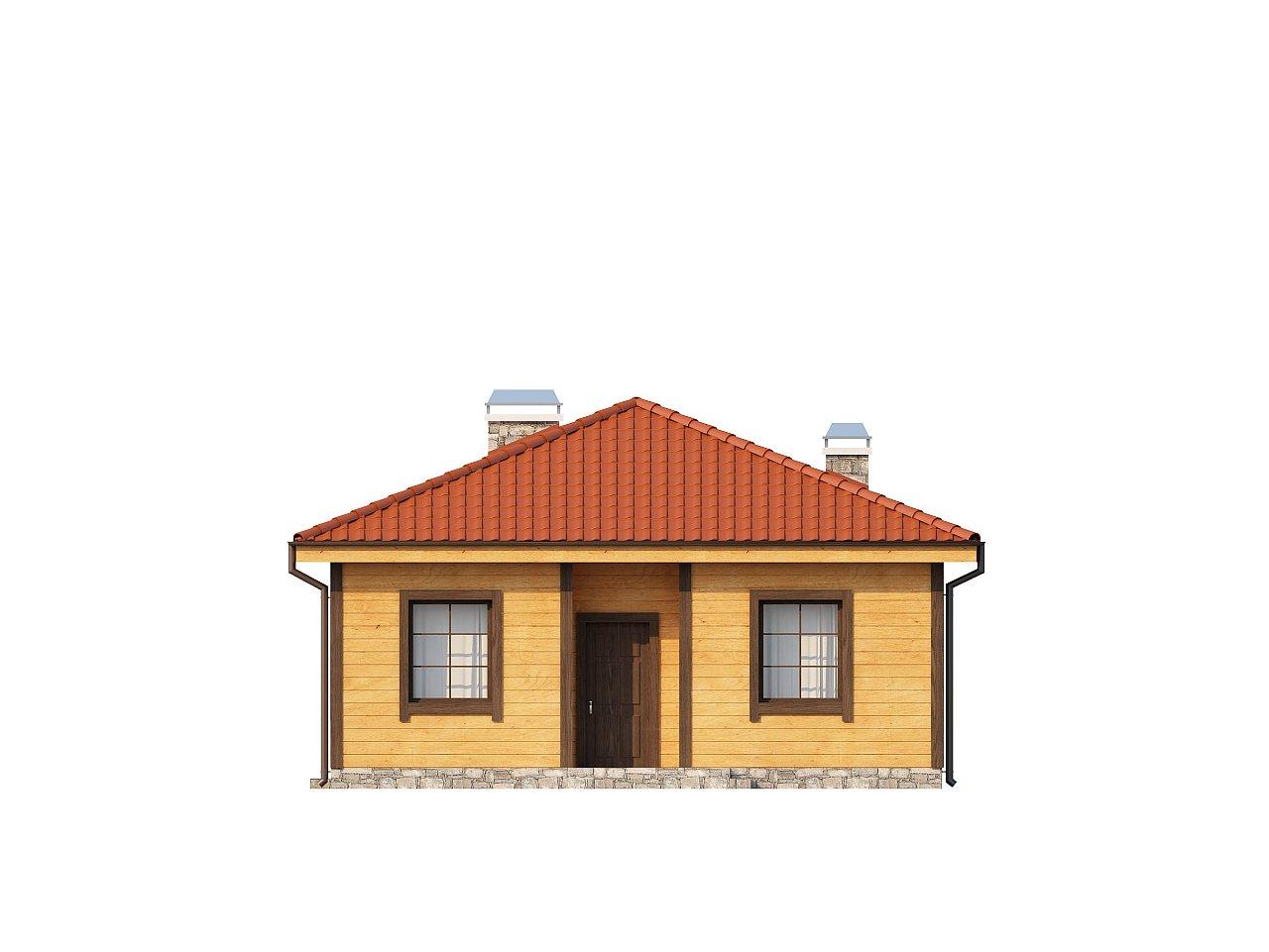 Компактный одноэтажный дом с большой крытой террасой. - фото 13