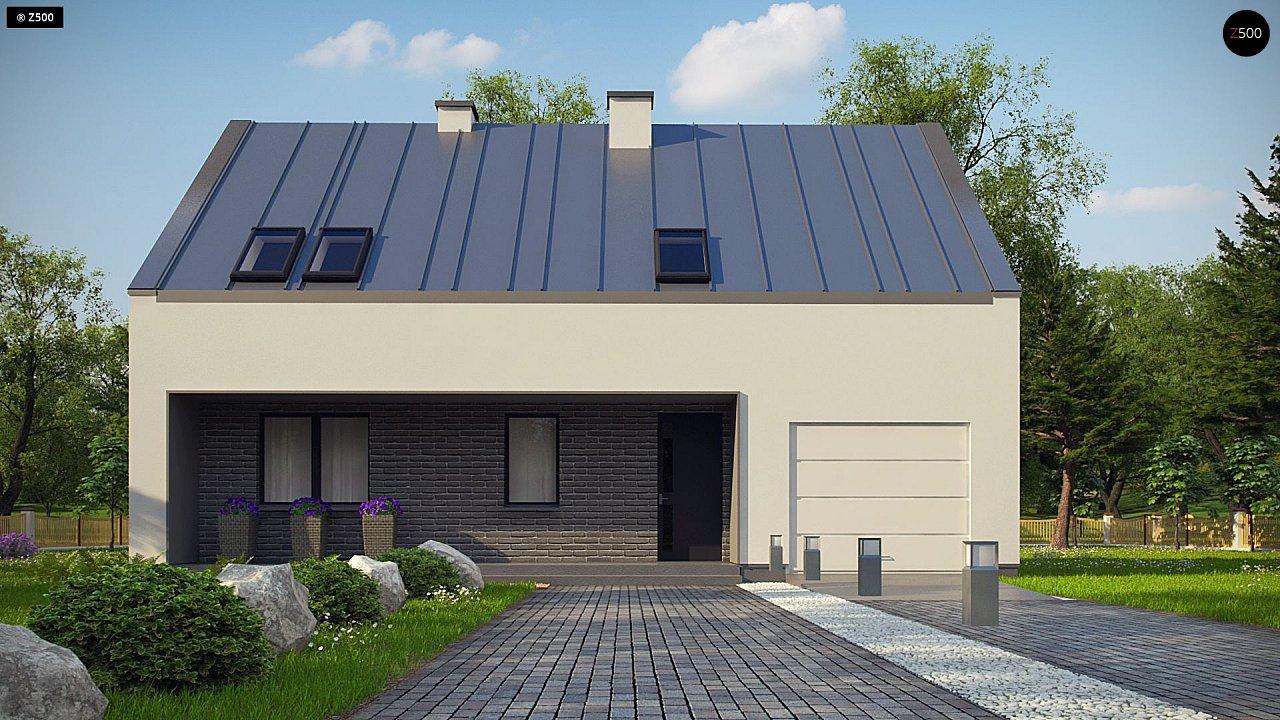 Проект мансардного с тремя спальнями и двускатной крышей 2
