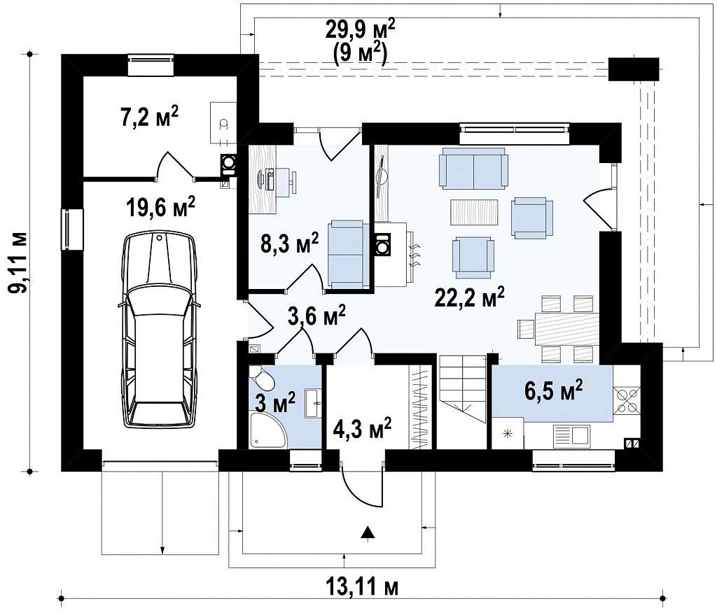 Современный функциональный дом с гаражом, с оригинальным выступом над входом. план помещений 1