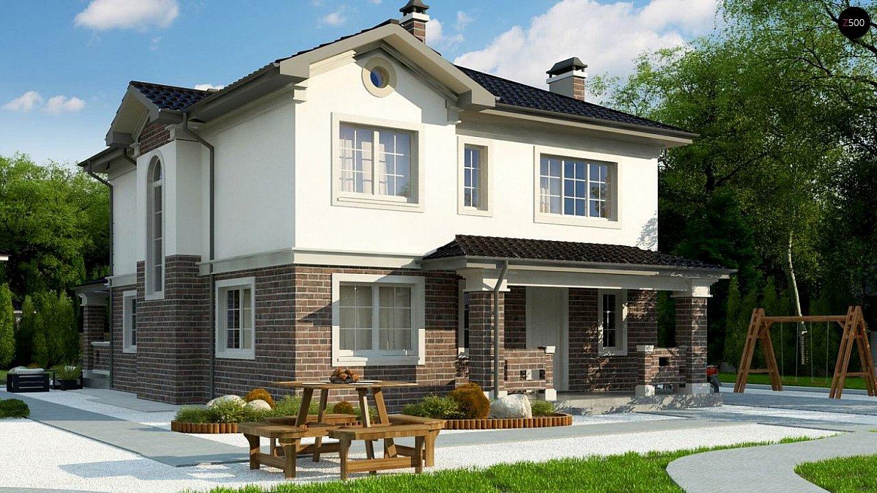 вариант двухэтажного дома Zz2 L BG в классическом стиле с плитами перекрытия - фото 2