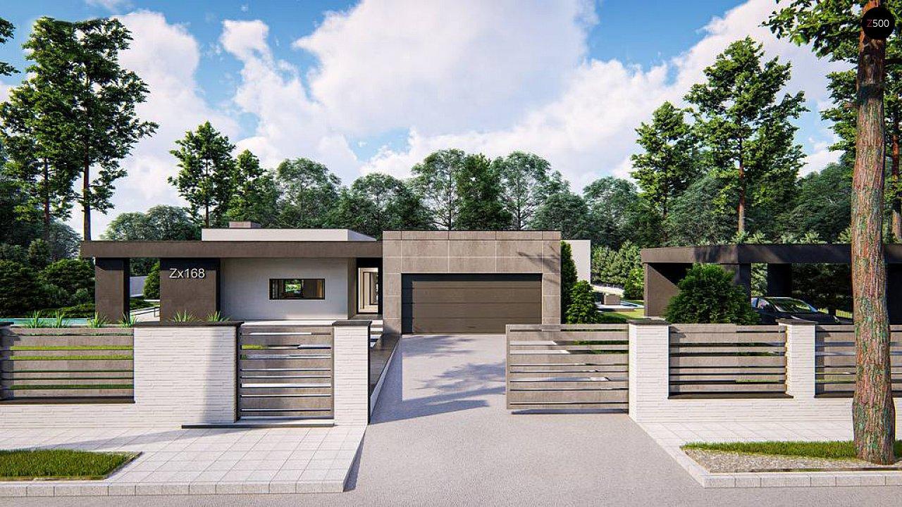Современный одноэтажный дом с внешним камином 5