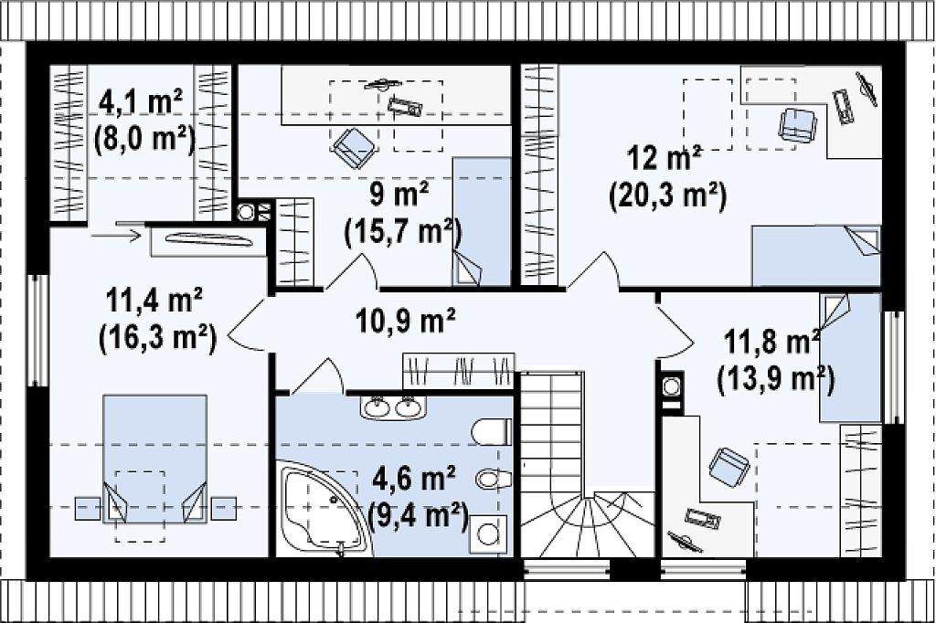 Версия проекта Z122 c дополнительной комнатой на мансарде вместо нового света. план помещений 2