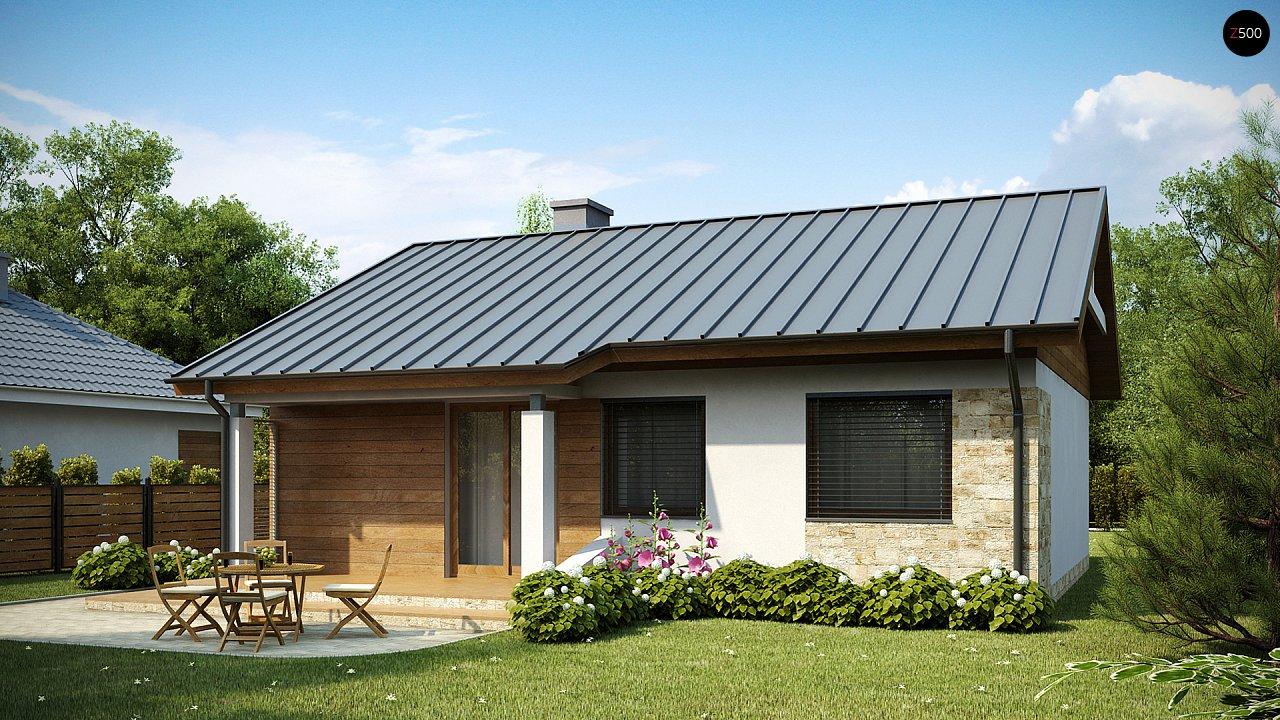 Аккуратный небольшой одноэтажный дом простой конструкции с кухней со стороны сада. 2