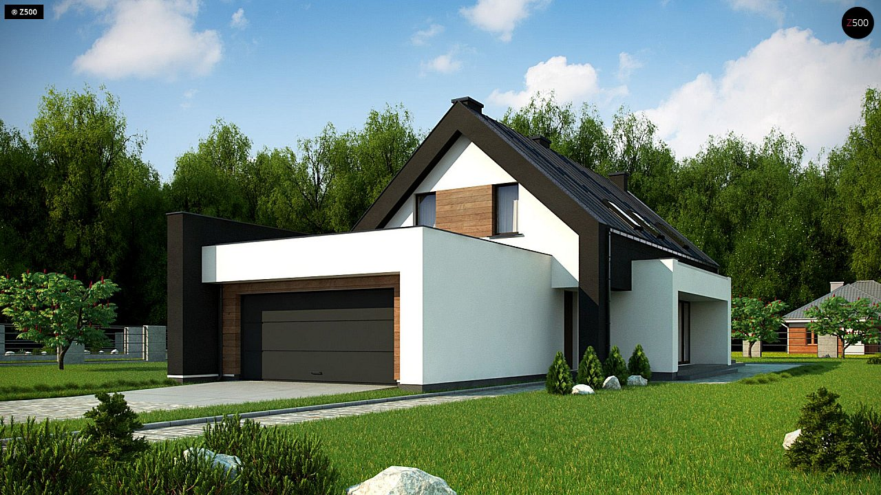 Проект удобного и красивого мансардного дома с гаражом на 2 машини и 3 спальнями. 1