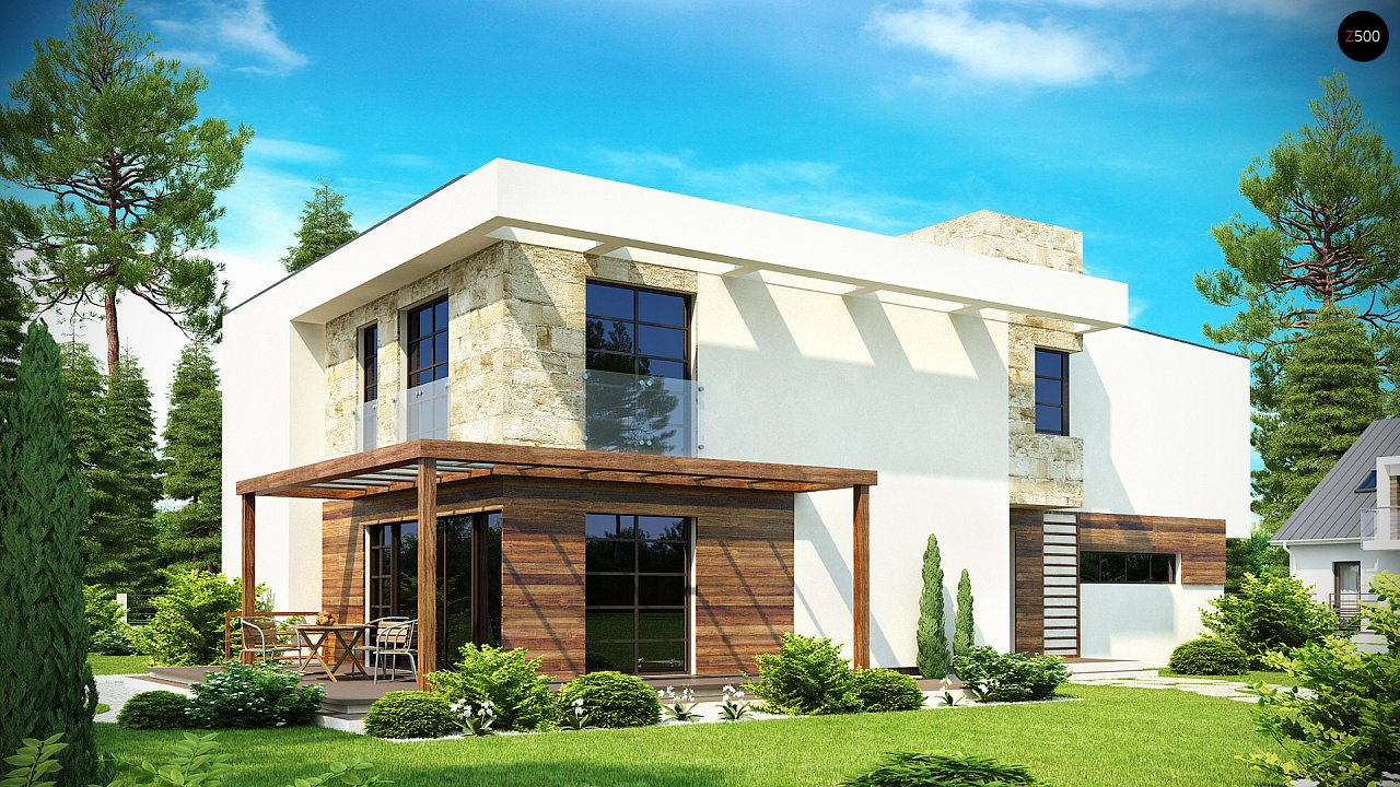 Двухэтажный дома в стиле модерн с практичным интерьером и гаражом для двух автомобилей. 3