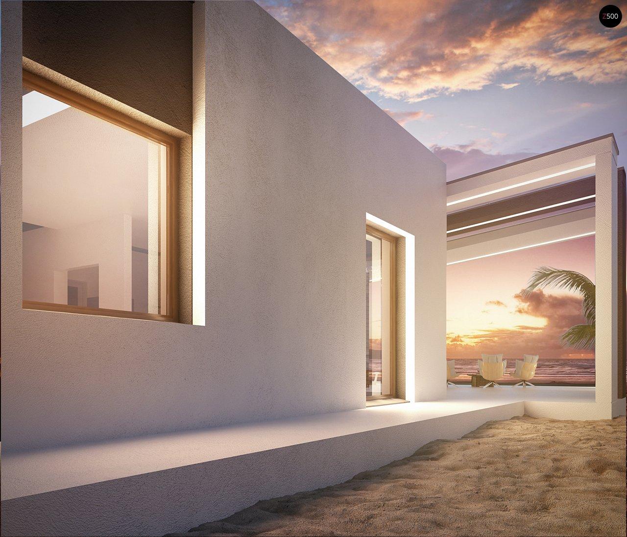 Современный и функциональный одноэтажный дом с уникальной архитектурной формой. 7