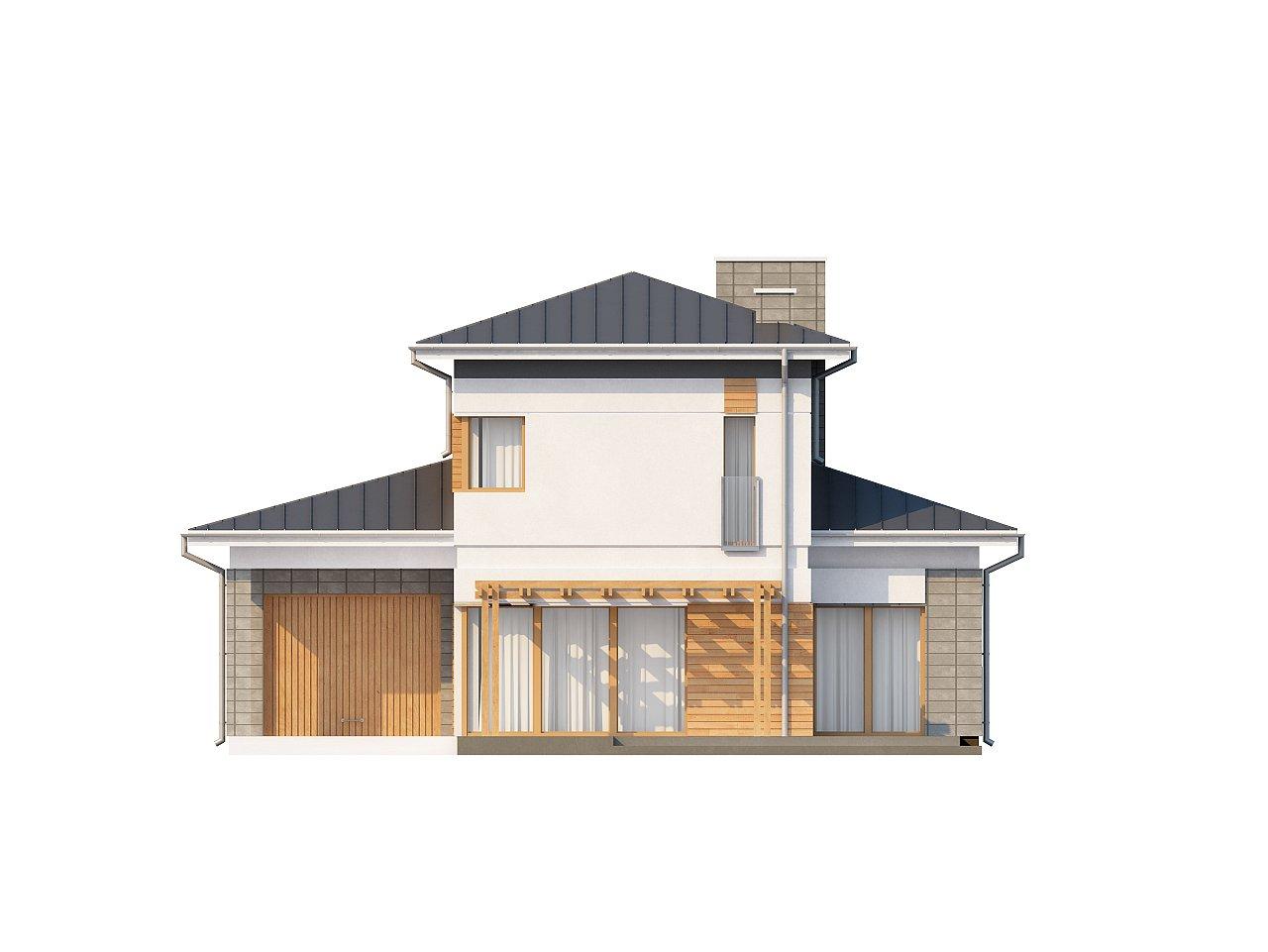 Проект удобного двухэтажного дома в стиле модерн с боковым гаражом. 3