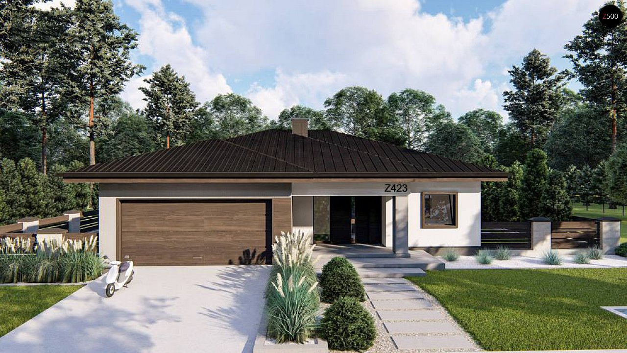 Современный одноэтажный дом с многоскатной крышей и гаражом на две машины. 2