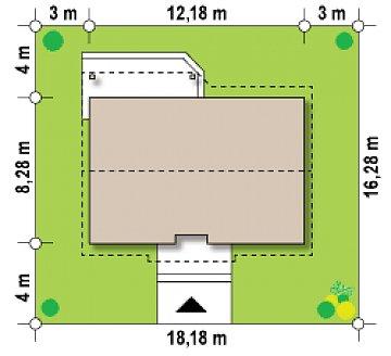 Версия проекта Z7 с углом наклона крыши 35 градусов. план помещений 1