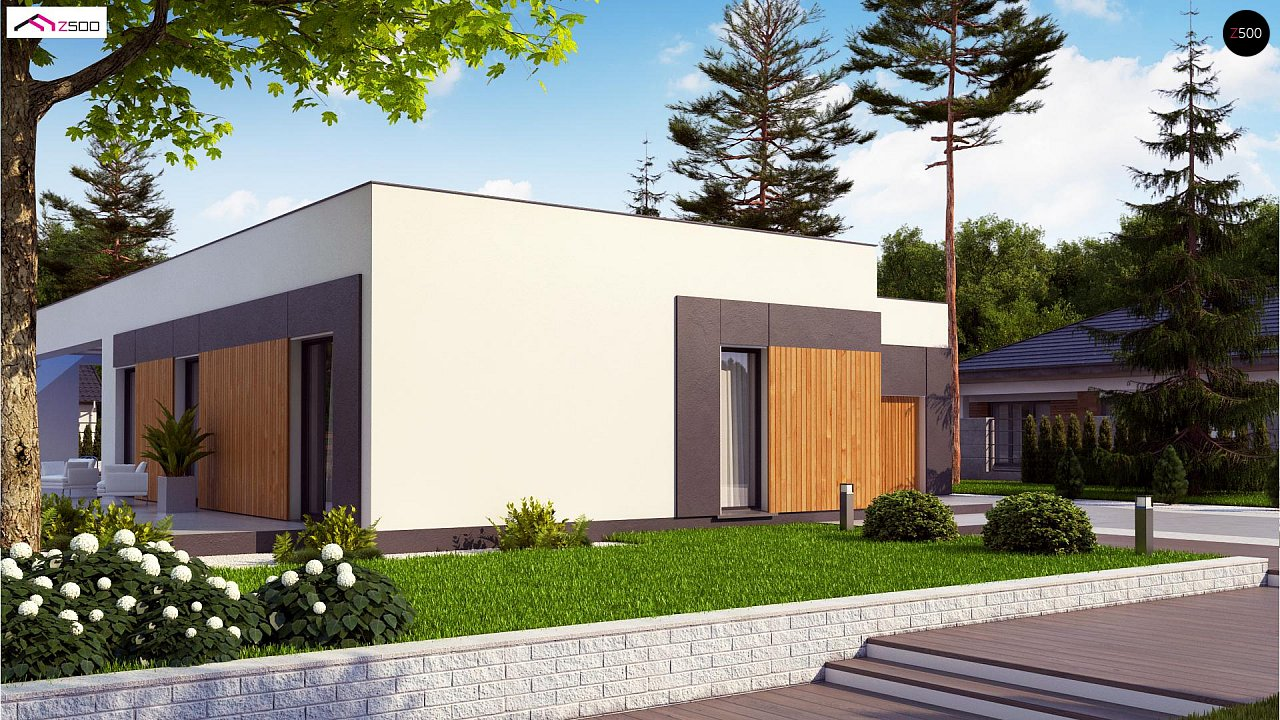 Проект стильного одноэтажного дома в современном стиле 1