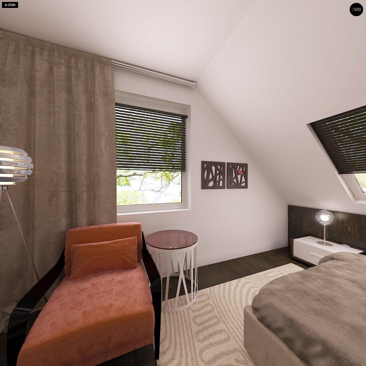 Дом с мансардой с двускатной крышей и комнатой на первом этаже 10