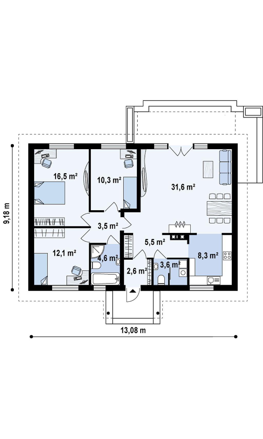 Выгодный и простой в строительстве дом полезной площадью 100 м2. план помещений 1