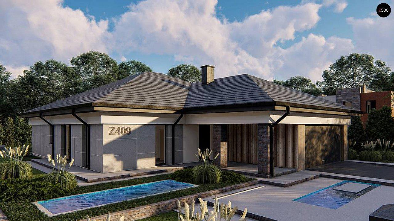 Одноэтажный проект дома на два автомобиля 2