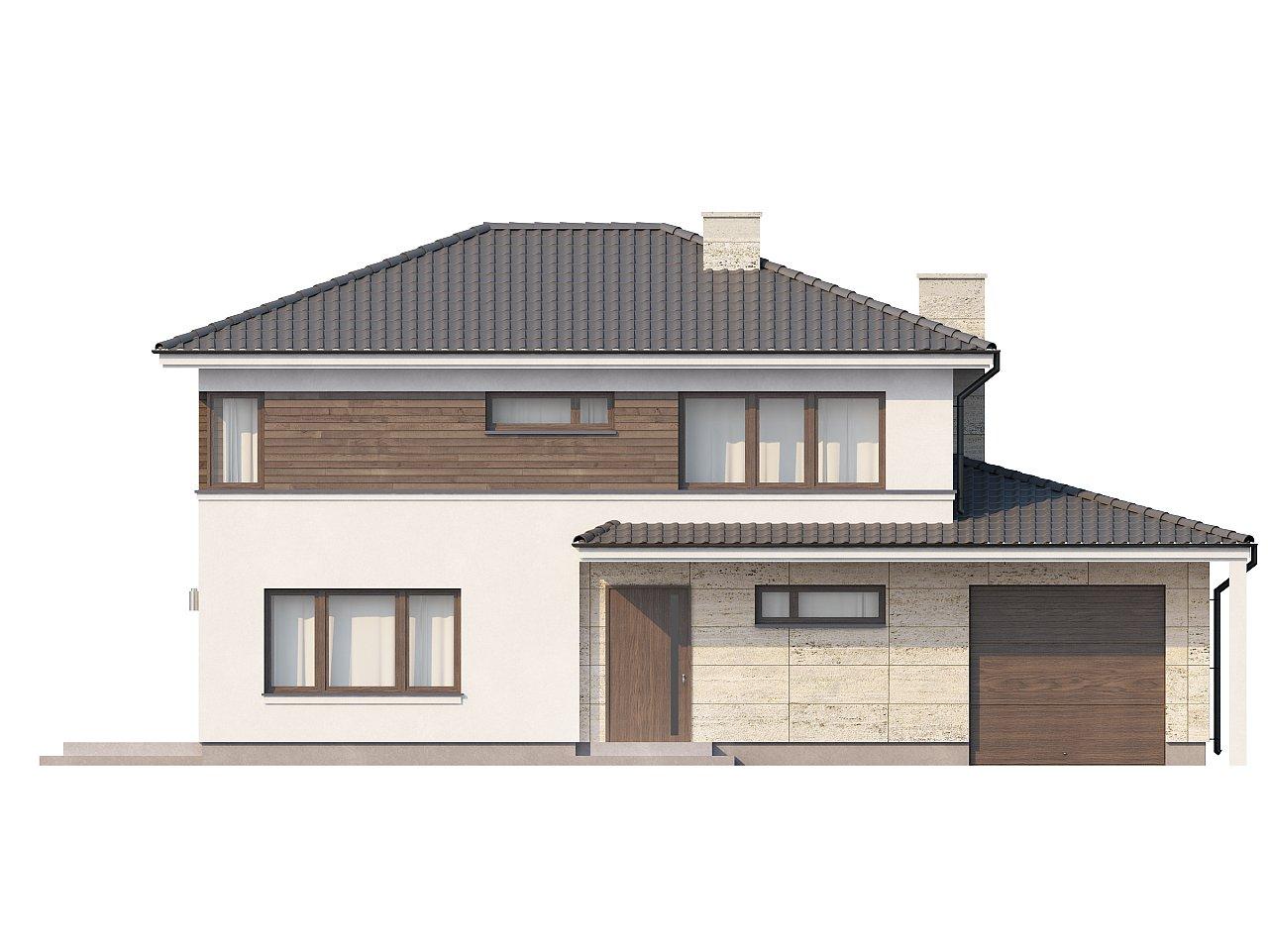 Двухэтажный современный дом с многоскатной низкой крышей, с гостиной с фронтальной стороны. - фото 3