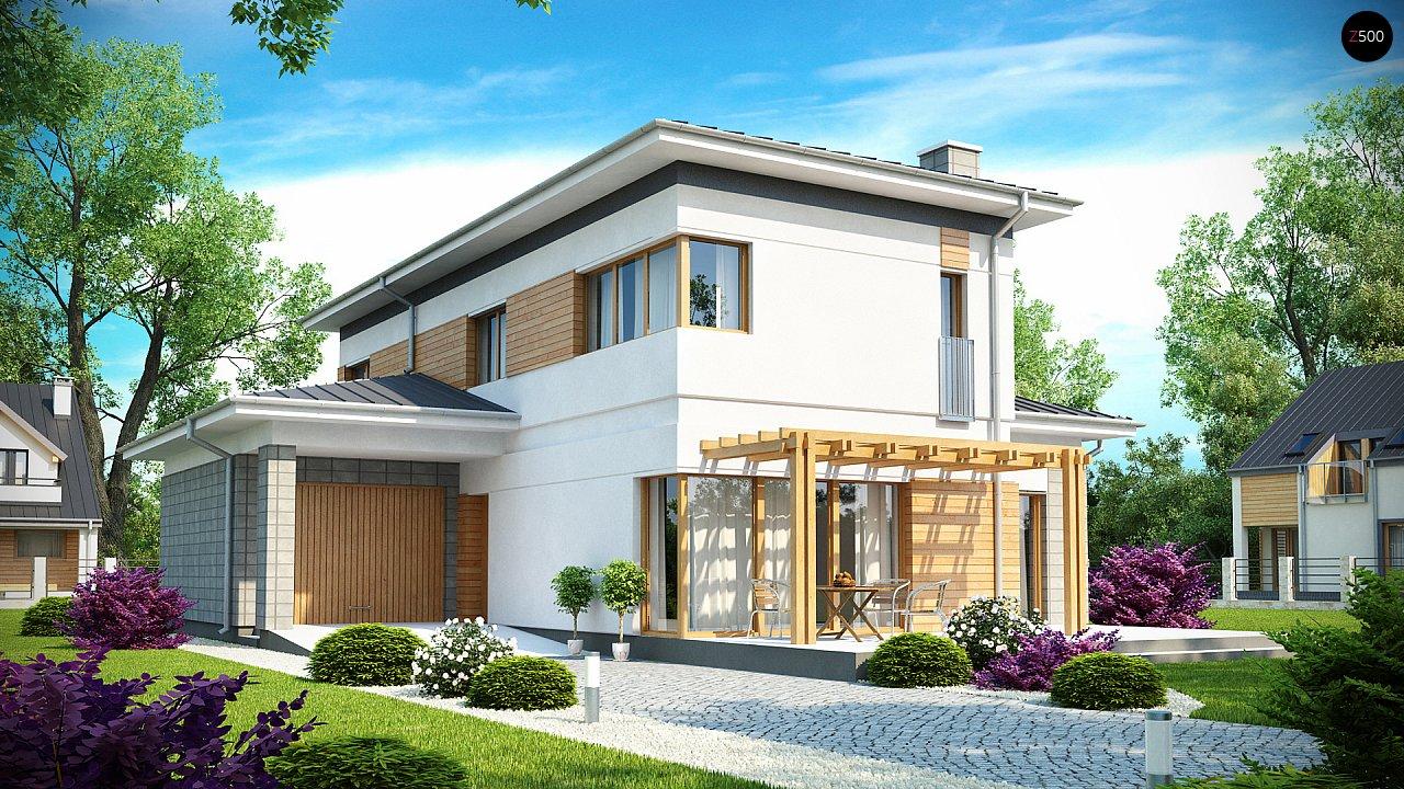 Проект удобного двухэтажного дома в стиле модерн с боковым гаражом. 1