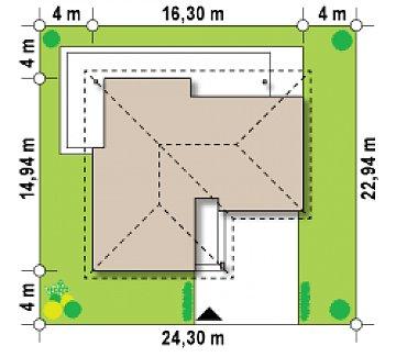 Проект функционального одноэтажного дома. Ночная зона во фронтальной части, кухня со стороны сада. план помещений 1